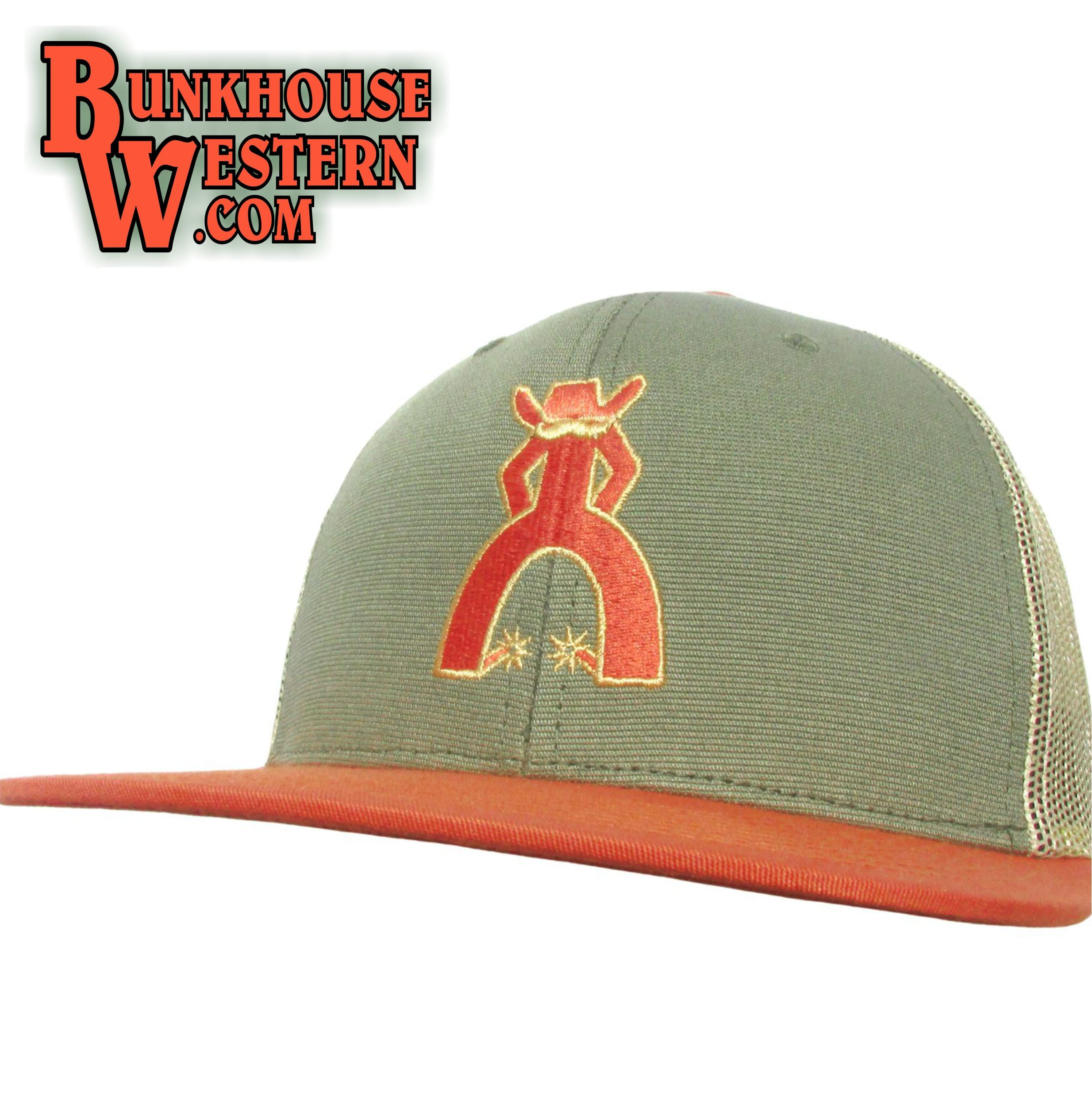 f4c7bc75 Punchy, Terlingua, Trucker Hat, Orange & Green, by Hooey, Cowboy, Cap,  $30.98