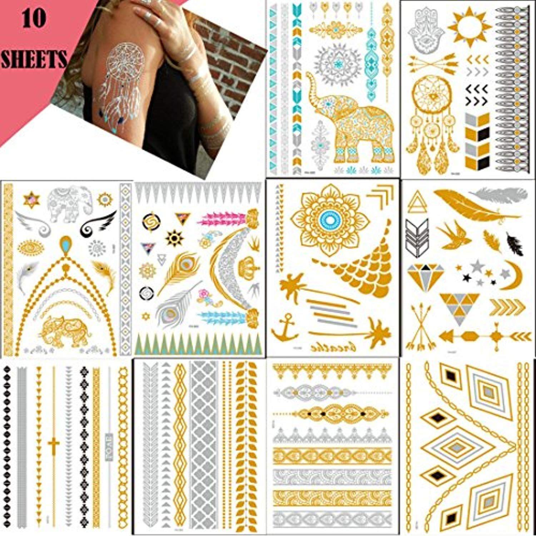 Lookathot 10 Sheets Temporary Tattoo Stickers Diy Metallic Tattoos Paper Gold Silver Black Turquoise Removable Water Metal Tattoo Tattoo Paper Tattoo Stickers