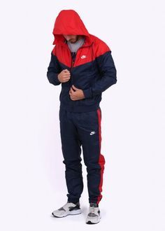 finest selection d1fe0 18d4a Nike Apparel Windrunner Tracksuit - Navy Red