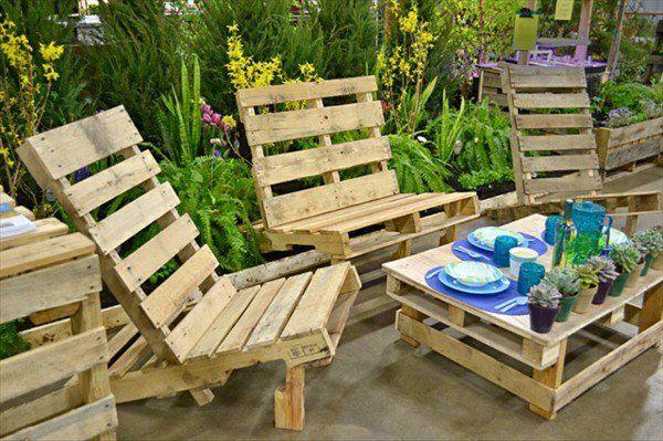 mobilire de jardin en palettes de bois