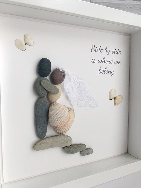 Handmade framed Pebble Art Veil & Rocks Wedding
