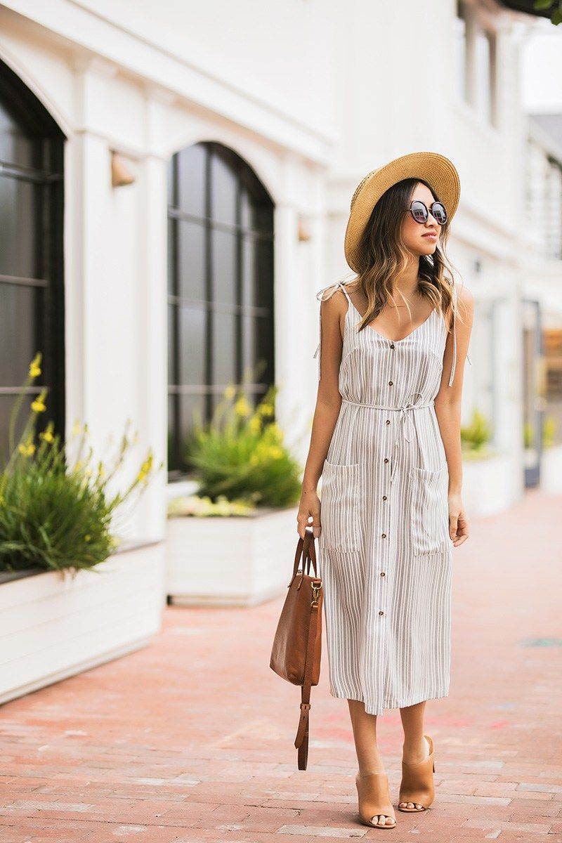 Lace And Locks Petite Fashion Blogger Spring Trends Cute Stripe Midi Dress Spring Striped Dress Cu Sundress Outfit Striped Midi Dress Summer Dress Outfits [ 1200 x 800 Pixel ]
