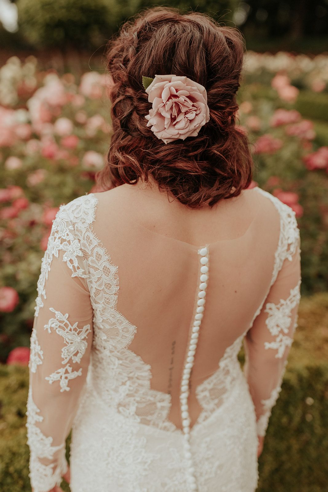 Long Sleeve Lace Wedding Gown By Eddie K Eclectic Indoor Wedding At The Evergreen Portland Oregon Styled D Floral Tiara Wedding Gowns Lace Indoor Wedding