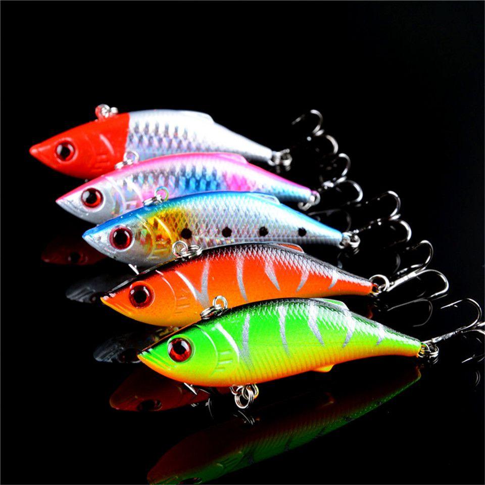 5 개 많은 겨울 낚시 하드 미끼 VIB 리드 내부 리드 물고기 아이스 바다 낚시 태클 회전 지그 비틀 비틀 7 센치메터/10 그램