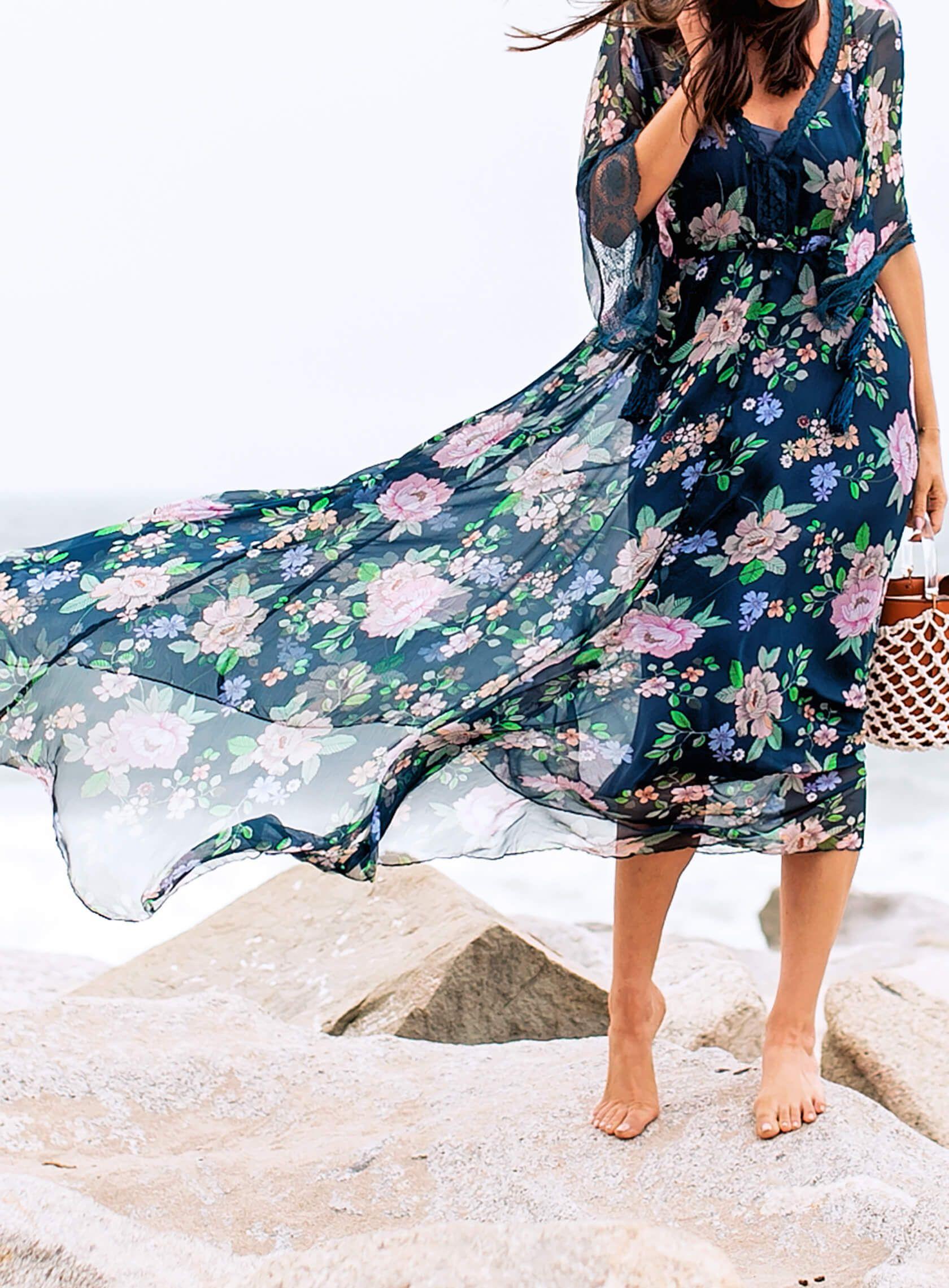 Windblown Boho Look In a Floral Maxi Dress  Sydne Style  Boho