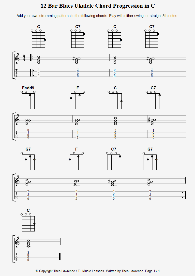 12 Bar Blues Ukulele Chord Progression in C | Ukulele in 2019