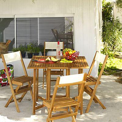 Salon de jardin pliant en acacia (4 places) | Véranda | Pinterest