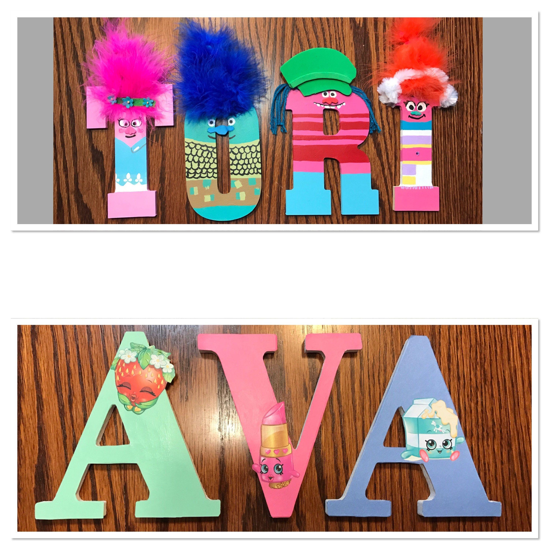 3 letter shopkins and trolls theme customized name on wood letters 3 letter name on wood letters designs super hero girls star wars spiritdancerdesigns Images