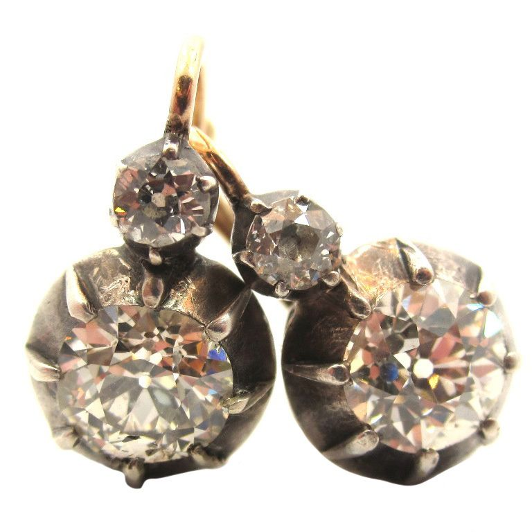 Victorian Silver, Gold & Diamond Two-Stone Drop Earrings | From a unique collection of vintage drop earrings at http://www.1stdibs.com/jewelry/earrings/drop-earrings/