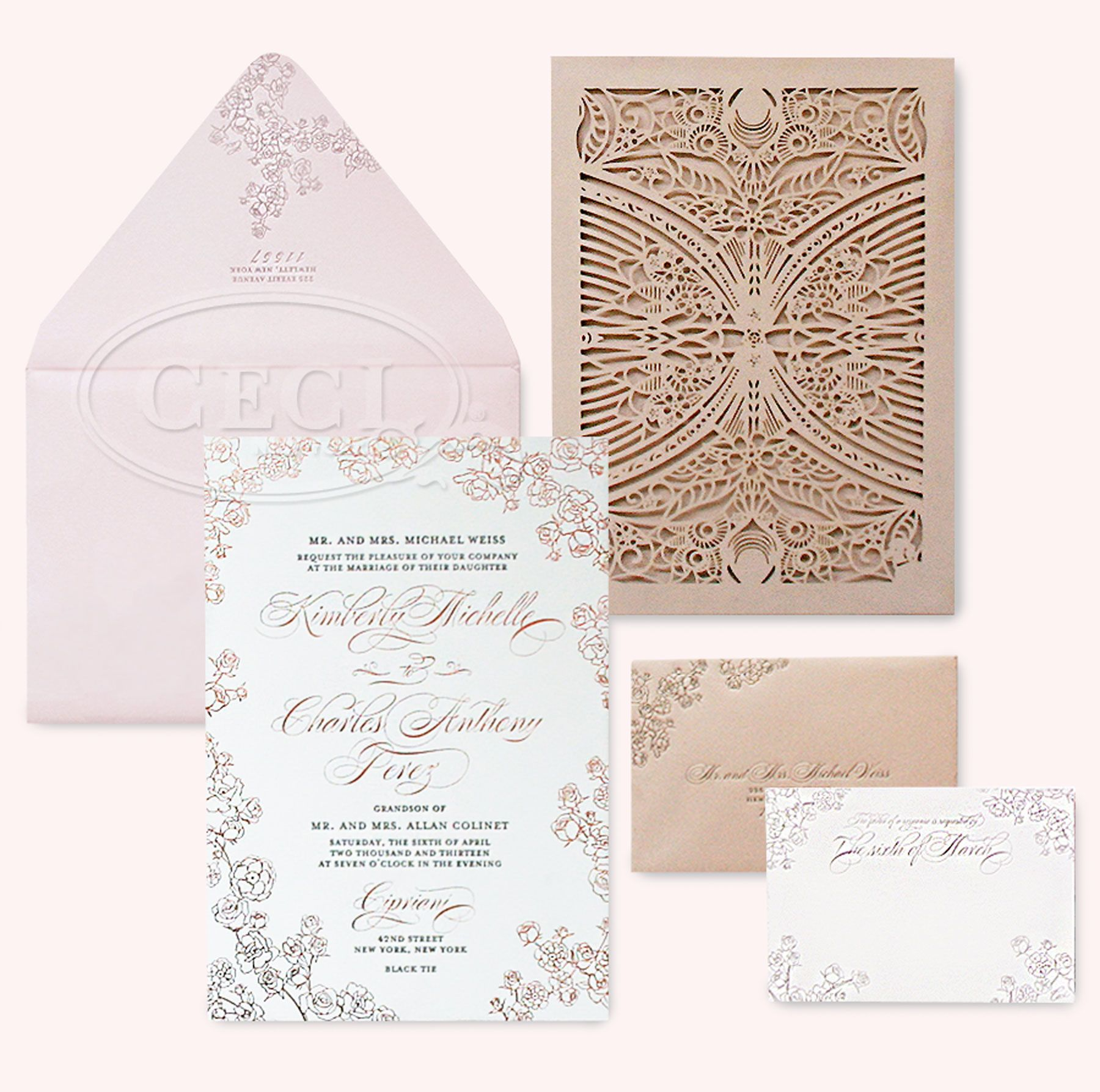 Lasercuts Fonts And Florals Oh My Luxury Wedding Invitations