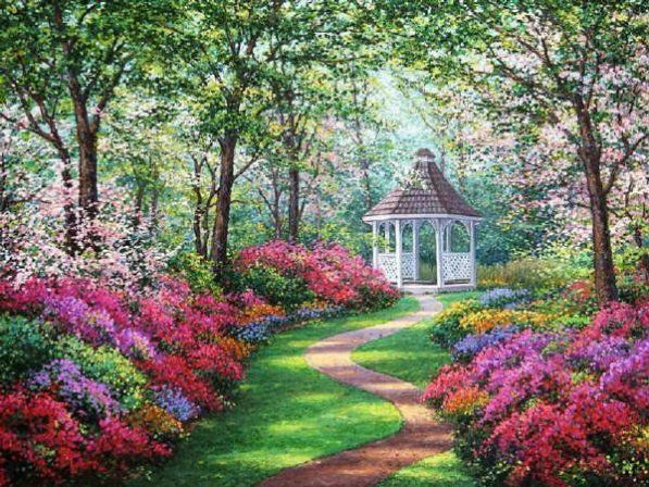 beautiful garden paintings | please view the following images