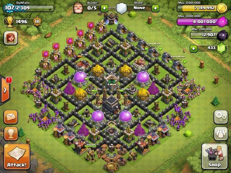 clash of clans rathaus level 6 8 9 farming base wallpaper keren