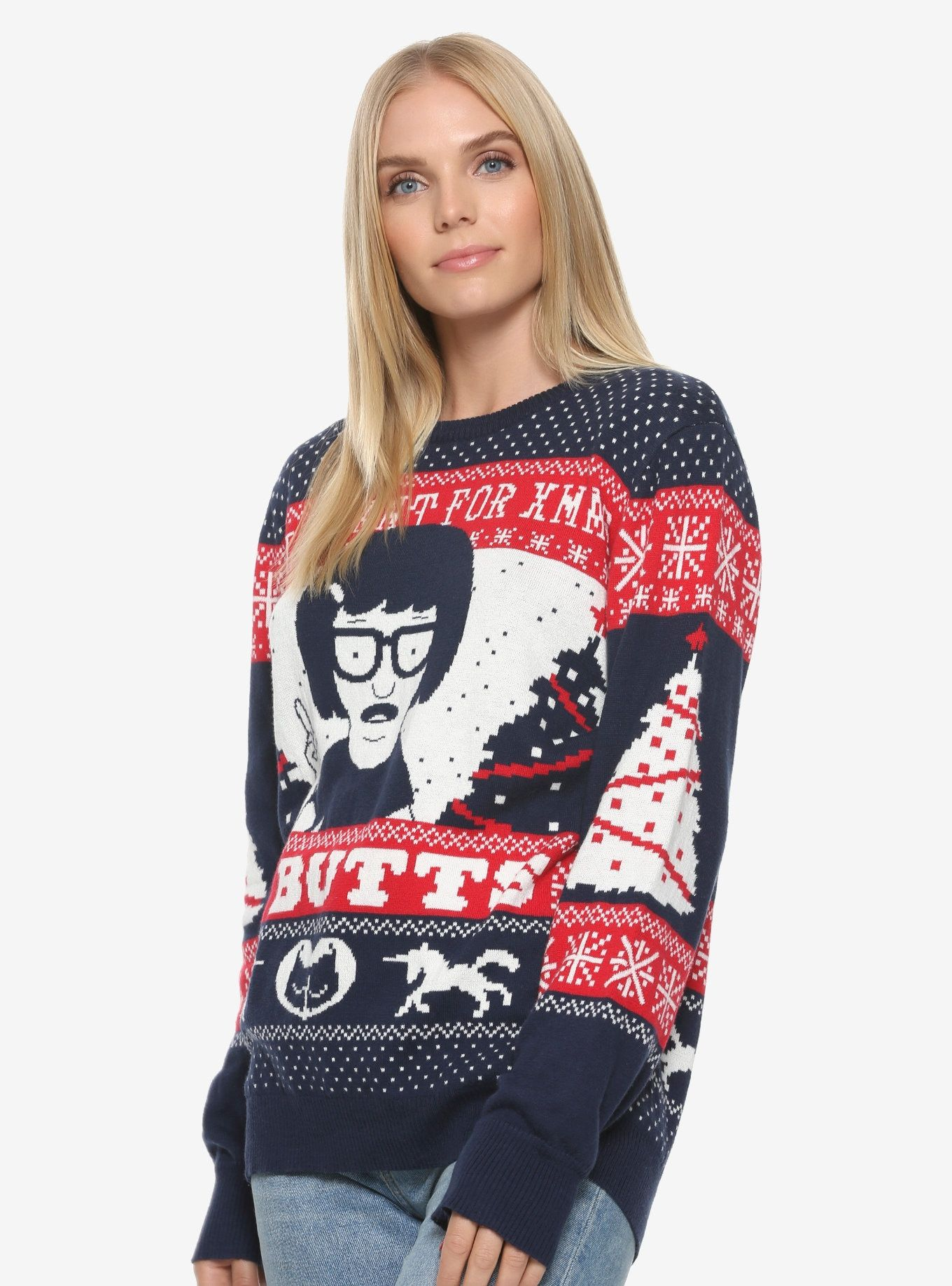 Bobs Burgers Tina Butts Holiday Sweater Boxlunch Exclusive Gift