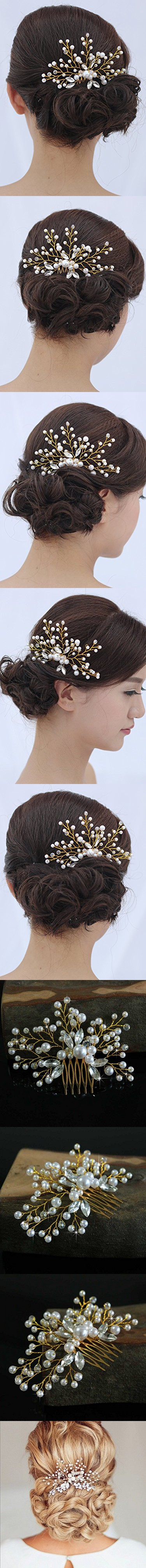 Venusvi Vintage Wedding Hair Combs with Bead and Rhinestones - Bridal Headpiece for Bridesmaids