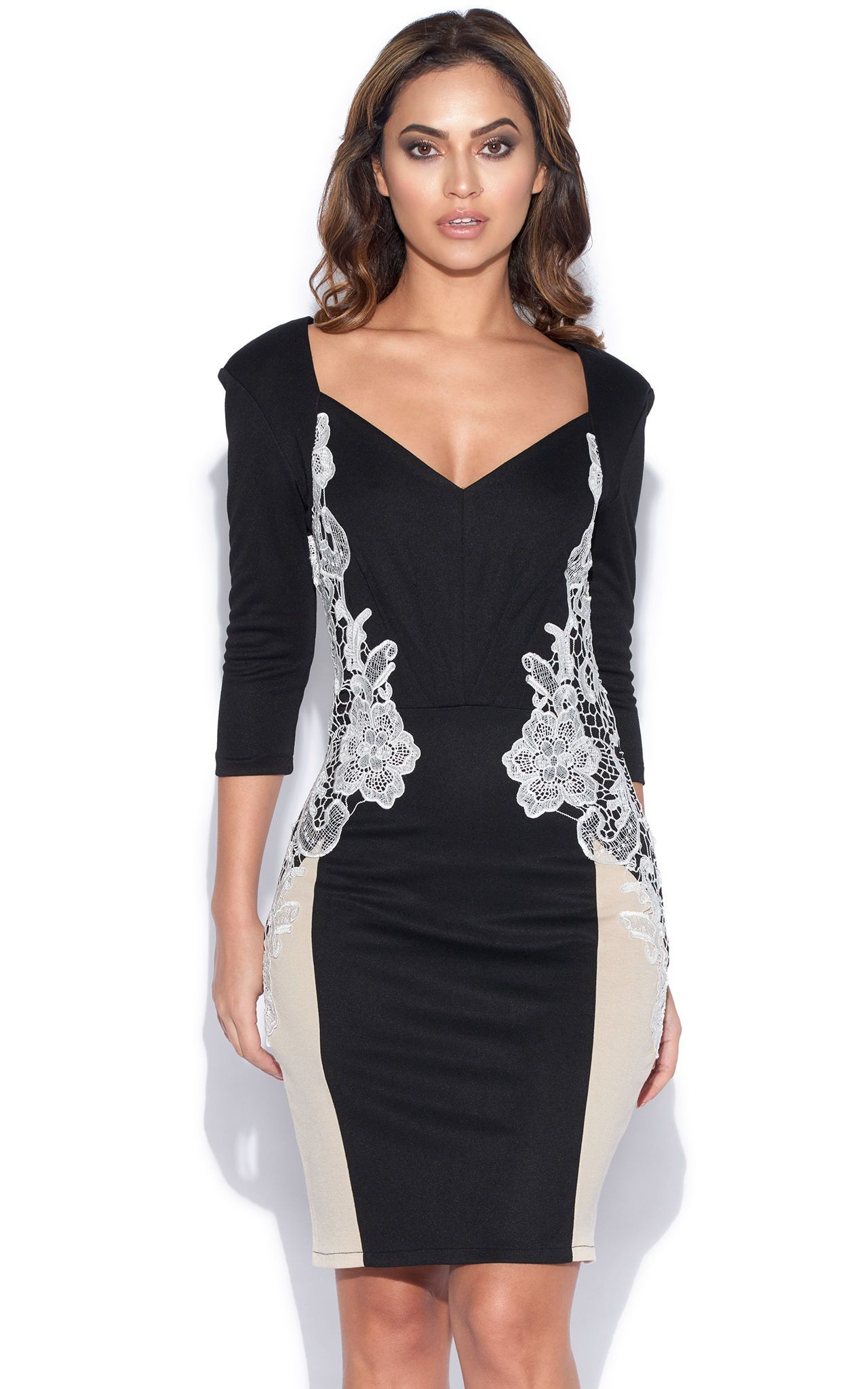 Long Sleeve Plunge Neck Lace Side Dress - SilkFred  4b56d8709