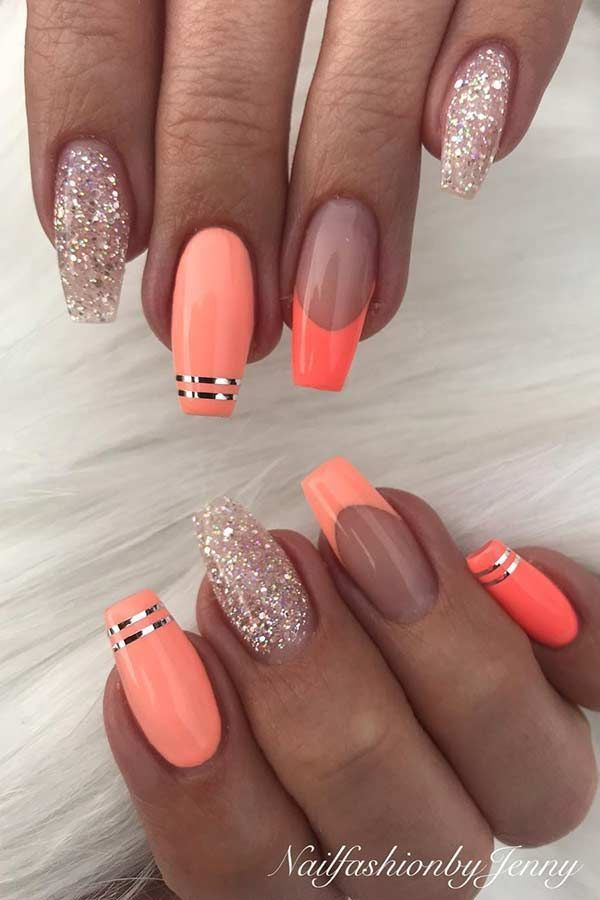 Coral Summer Nail Art Design #naildesigns #summernails