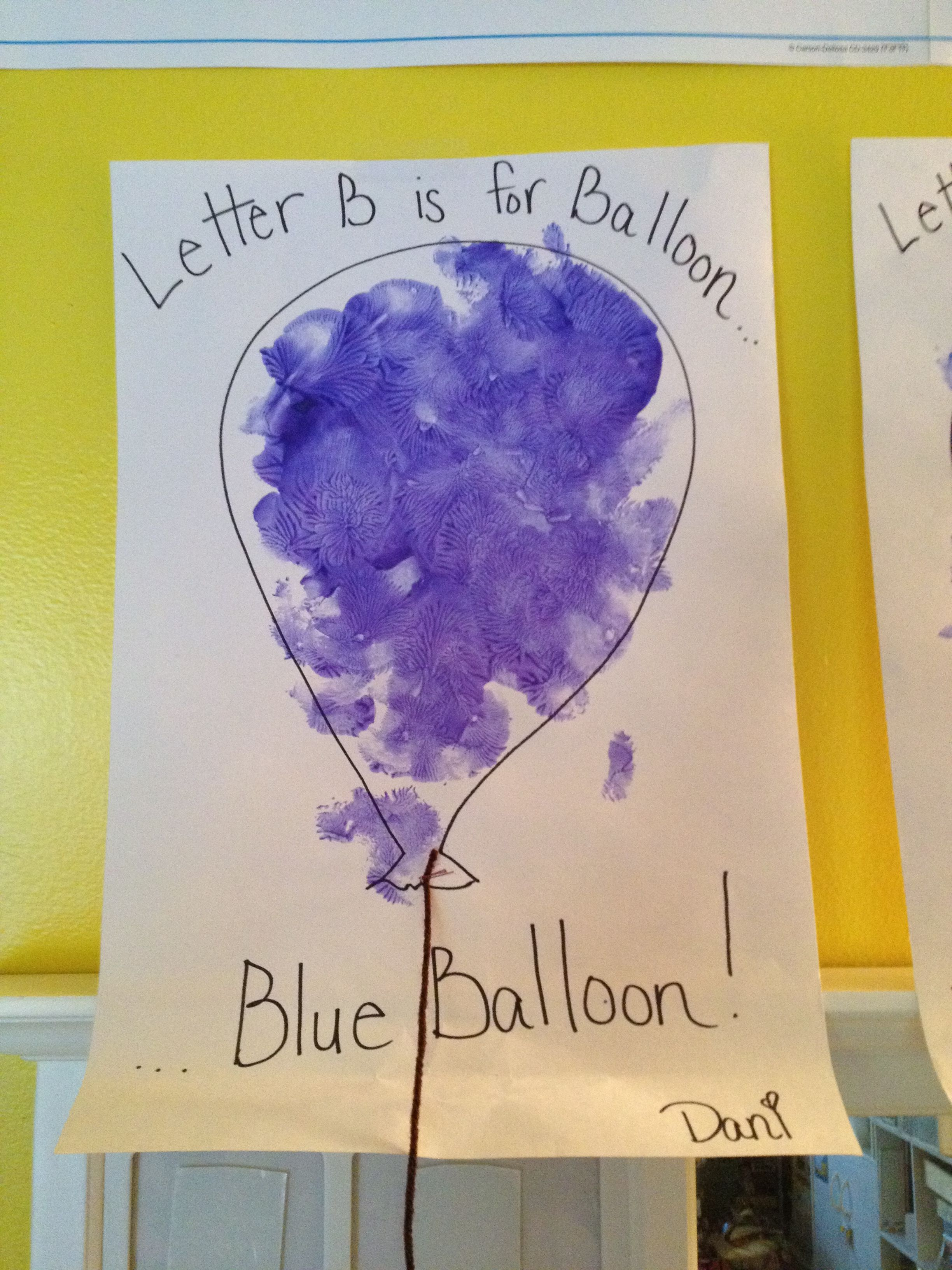 B Is For Blue Balloon The Children Painted With A Balloon