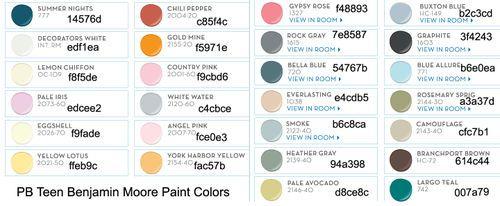 Pottery barn bm paint colors 2013 paint colors for Pottery barn teen paint colors