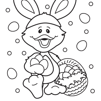 free easter duck coloring page