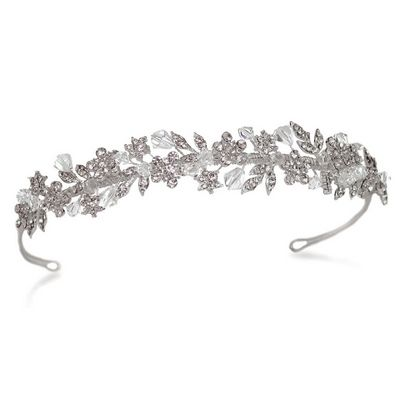 wedding tiara of silver and diamante flowers and leaves. £