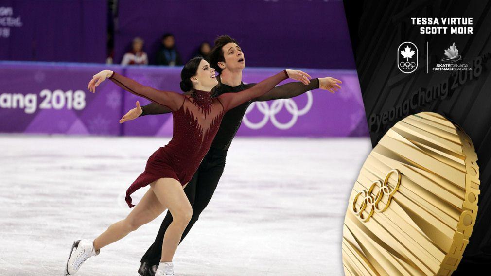 Virtue et Moir décorés d'or en danse sur glace à