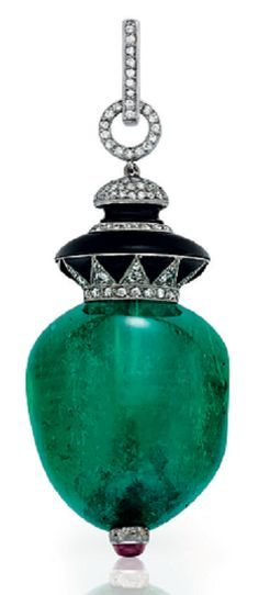 An Art Deco emerald, diamond and onyx pendant, by Janesich, circa 1935. The emerald bead, to the single-cut diamond and onyx surmount and cabochon terminal, suspended by the circular-cut diamond bail, possibly of later addition, mounted in platinum. Signed Janesich.