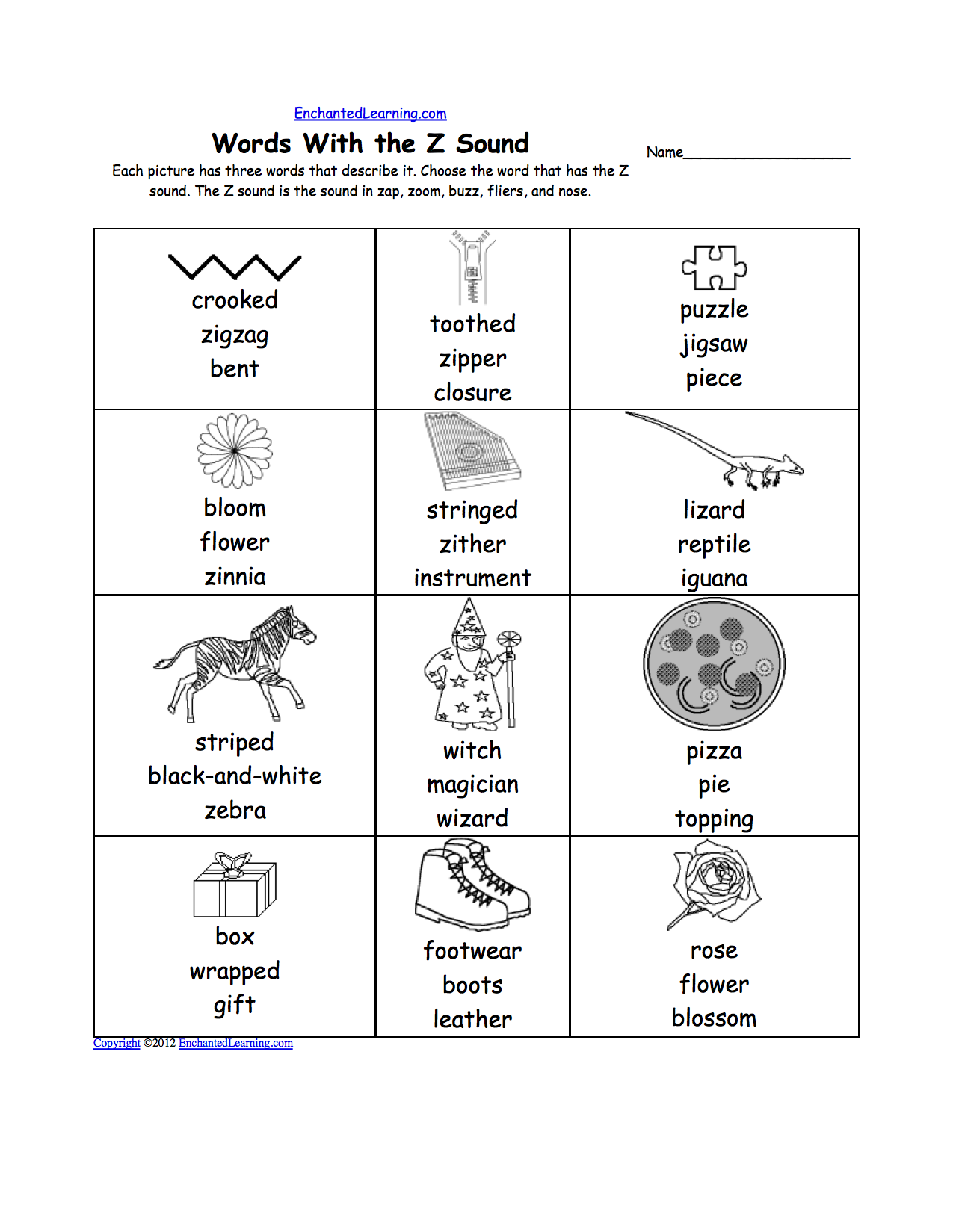 Phonics: Picture Dictionary, Activities and Worksheets to Print -  EnchantedLearning.com