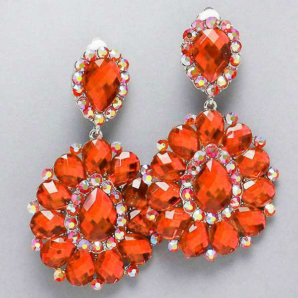 Orange Crystal Chandelier Rhinestone Clipon Bridal DragQueen ...