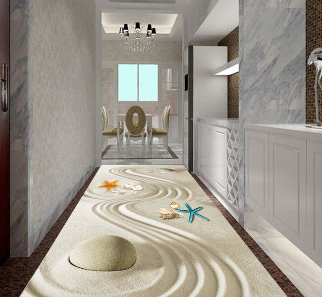 rev tement de sol zen sur mesure les coquillages sur le sable rev tement de sol 3d. Black Bedroom Furniture Sets. Home Design Ideas