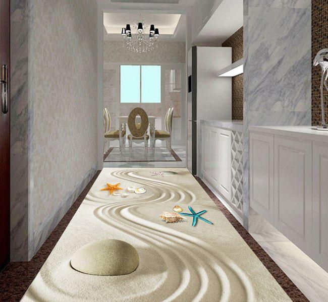 rev tement de sol zen sur mesure les coquillages sur le sable rev tement de sol 3d. Black Bedroom Furniture Sets. Home Design Ideas