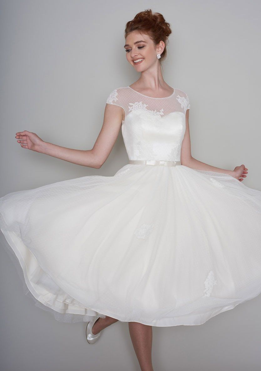 50s wedding dress lace  lola Fifties length tea dress with lace appliqué and super full