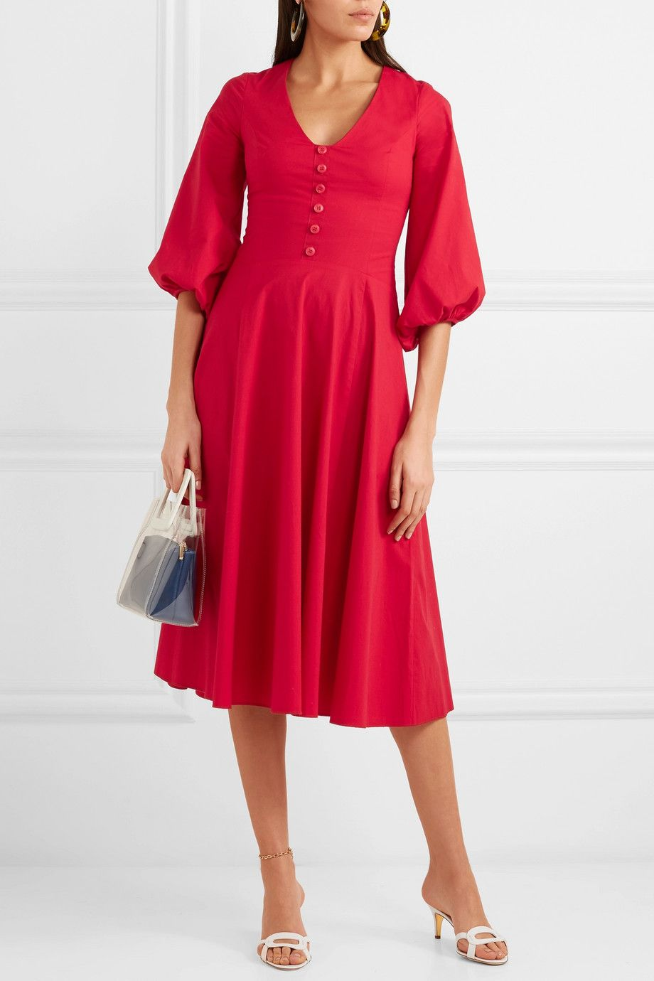 Veronica Stretch Cotton-poplin Dress - Red Staud Cheap Sale Inexpensive Low Price For Sale Best Prices Cheap Price HFW7bo