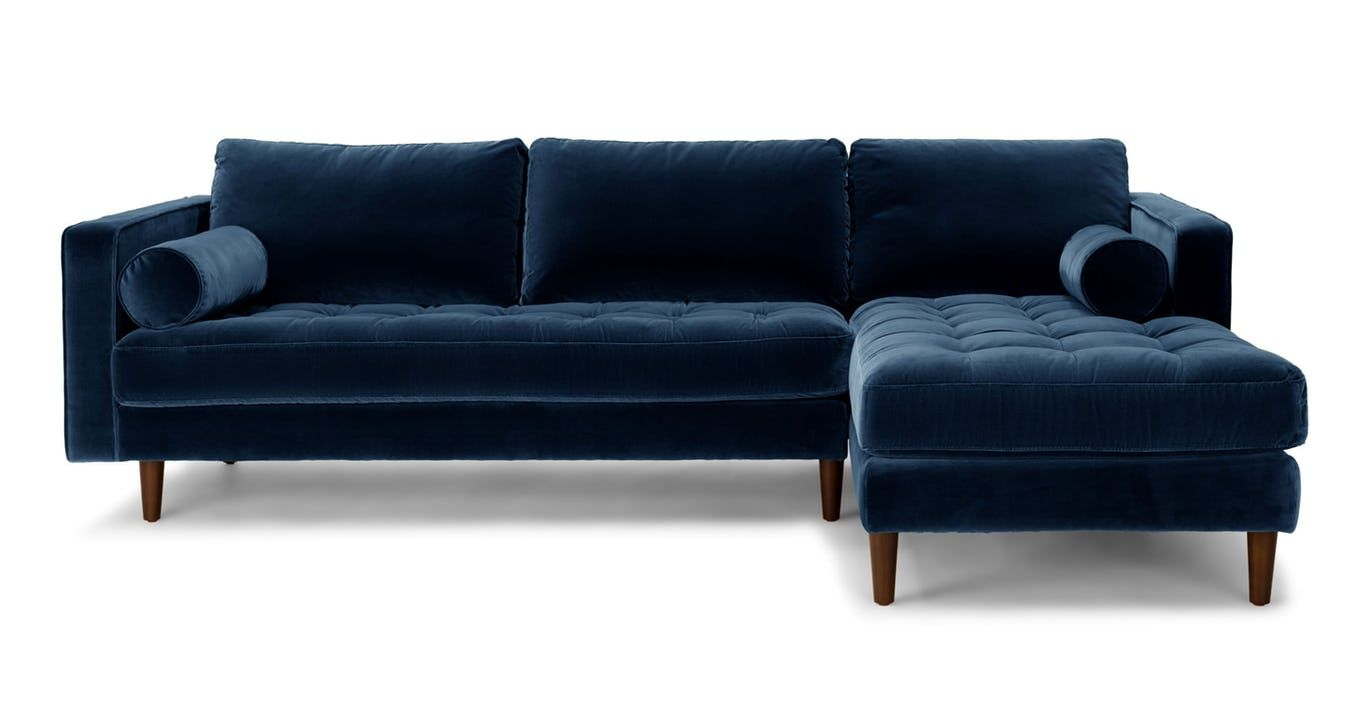 Dark Blue Velvet Right Sectional Tufted Article Sven Modern Furniture