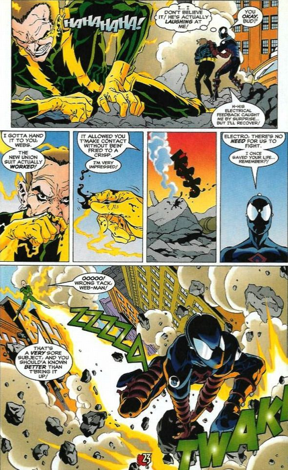 Spider Man In Electro Proof Suit Marvel Spiderman Spiderman Splash Page