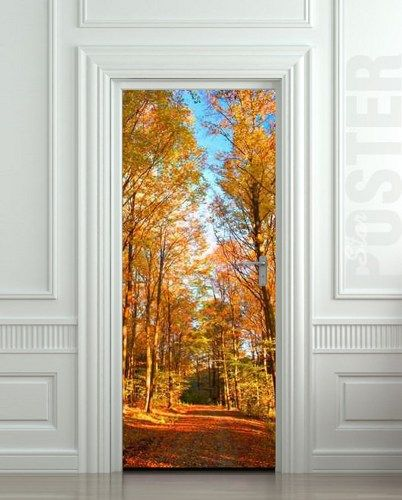 Wall Door Vinyl Sticker Autumn Road Way Forest Trees Mural