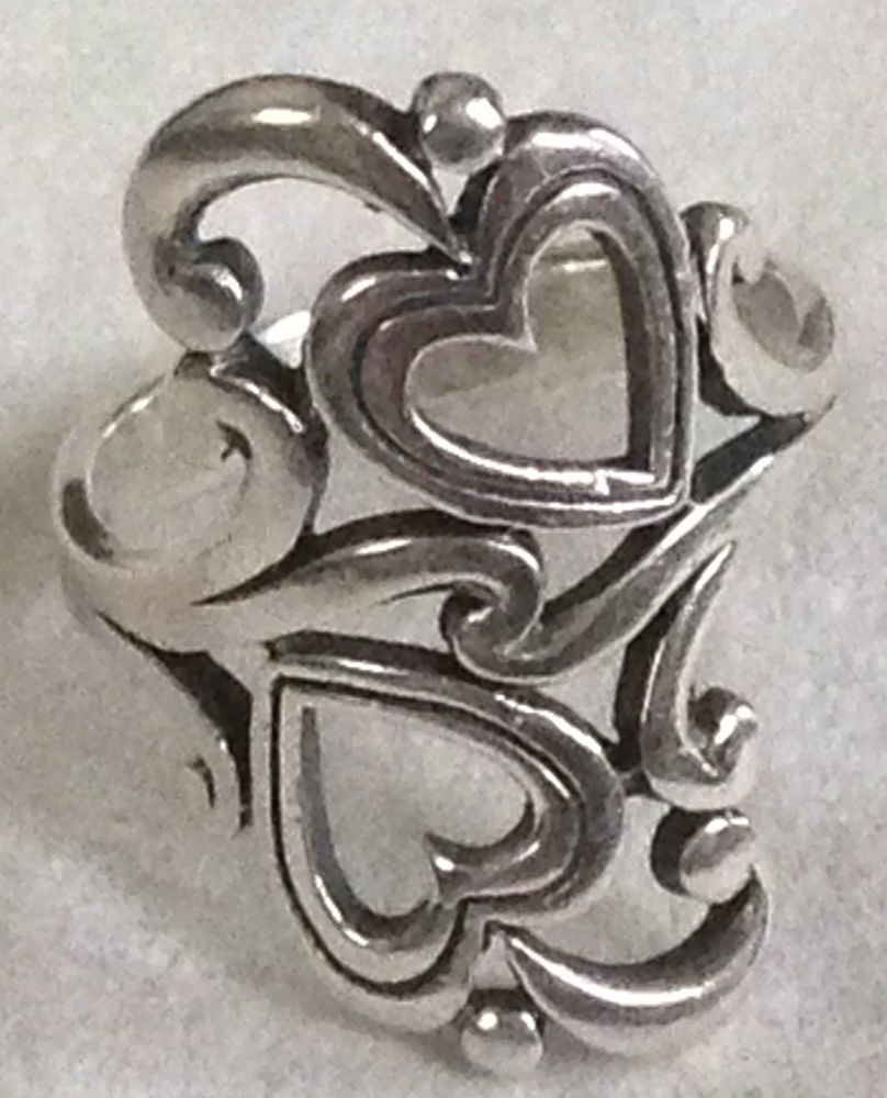 ❤retired james avery double heart scroll ring sterling silver 7½ box rare  charm❤ #jamesavery #twoheartsscrollwavedesignring