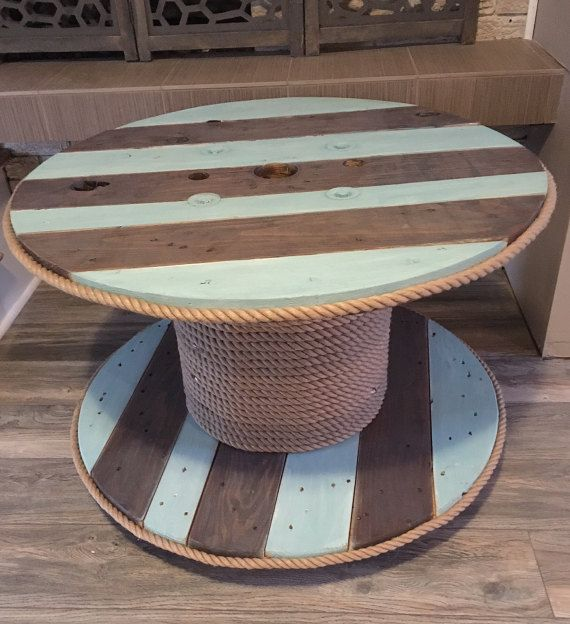 SALE: Repurposed Upcycled Cable Spool Table by ThePaintedDen #cablespooltables