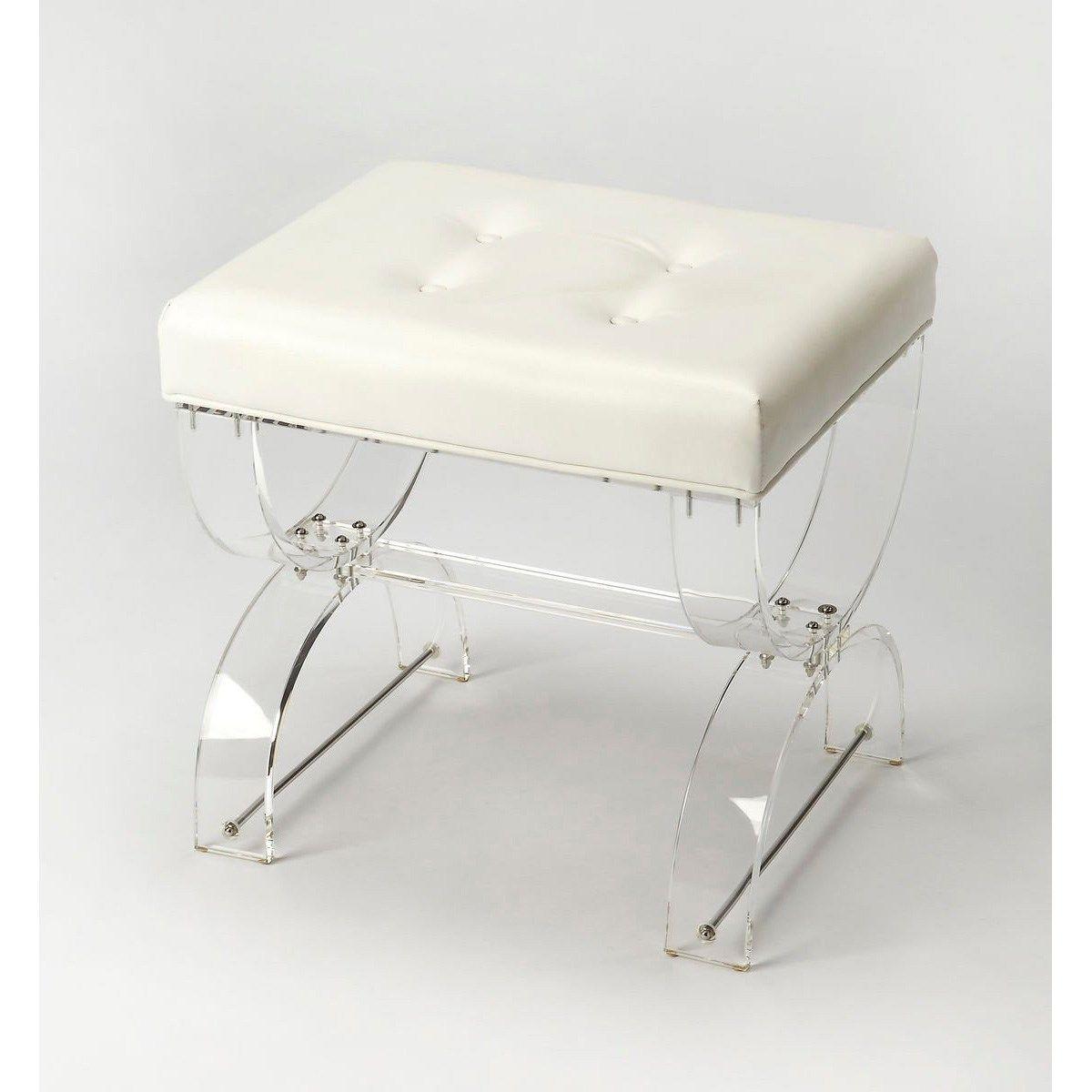 Butler 3739335 Morena Vanity Stool In Clear Acrylic White Vanity Stool Contemporary Stools Vanity Bench