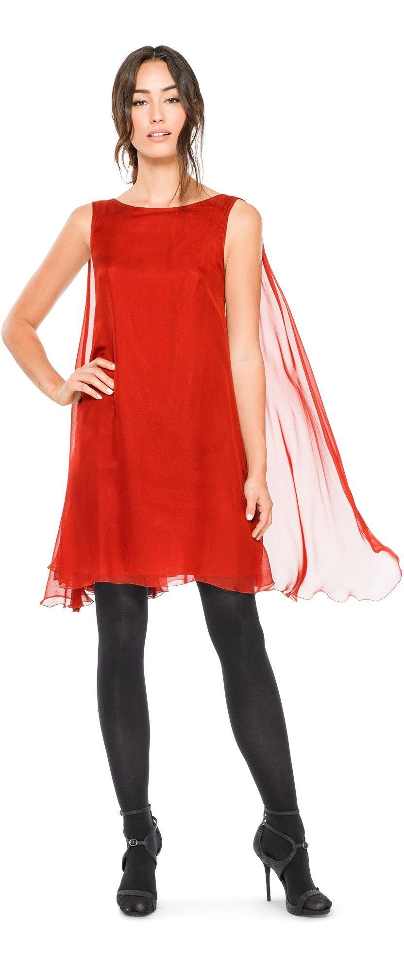 Silk mesh chiffon sleeveless dress ethereally draped with soft