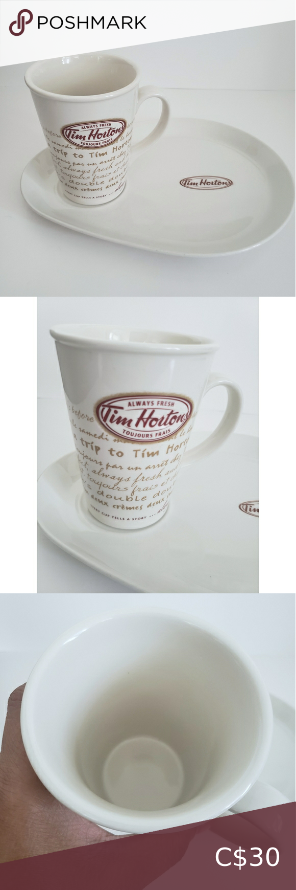 Tim Hortons Plate and Coffee Mug in 2020 Tim hortons