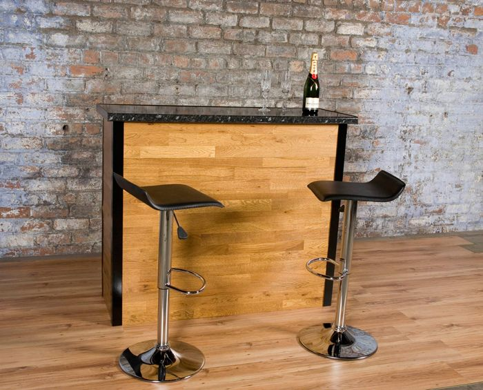 Brick Wall, Wood Flooring And Bar