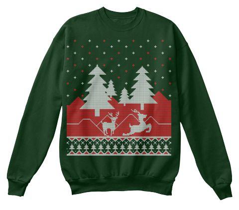 Cheap Christmas Jumper For Women Deep Forest  T-Shirt Front