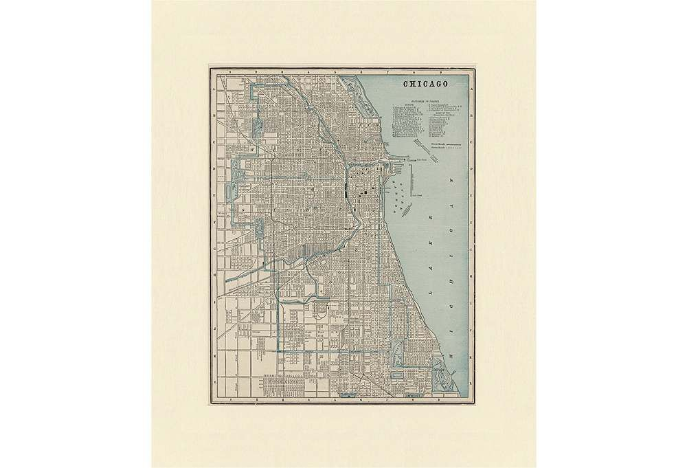 One Kings Lane - Charted Territories - Map of Chicago, C. 1900