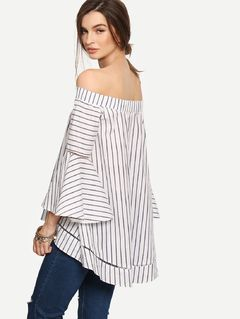 ae83bb4fd17 Online shopping for Multicolor Striped Off The Shoulder Bell Sleeve Blouse  from a great selection of women's fashion clothing & more at MakeMeChic.COM.