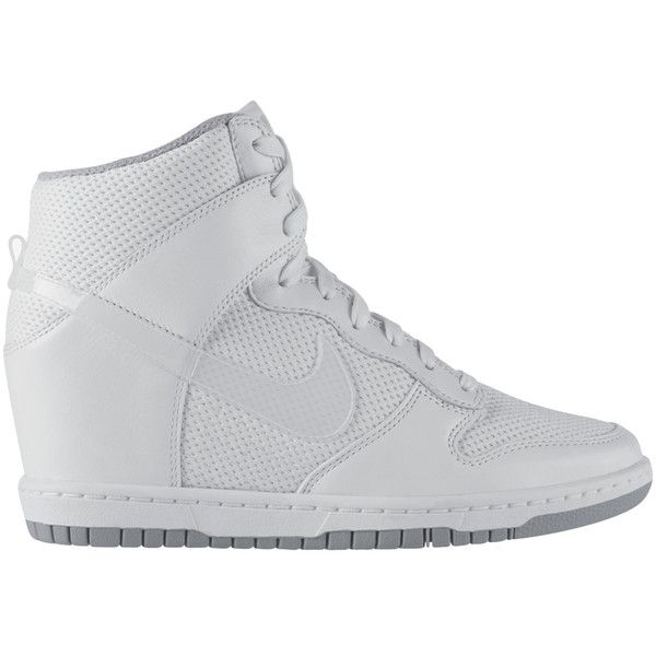 free shipping b1351 6ab36 Nike Dunk Sky Hi Essential White ( 150) ❤ liked on Polyvore featuring  shoes, nike, shoe club, women, nike shoes, nike footwear, white leather  shoes and ...