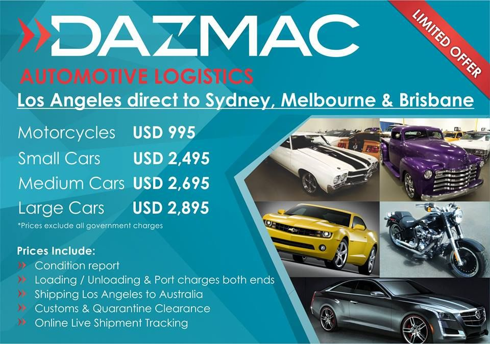 Dazmac offers very competitive car shipping prices for both shipping in containers and shipping by Roll on Roll off (RORO). We have regular consolidated containers of cars from Los Angeles CA and Charleston SC to Sydney, Melbourne, Brisbane, Adelaide and Fremantle.