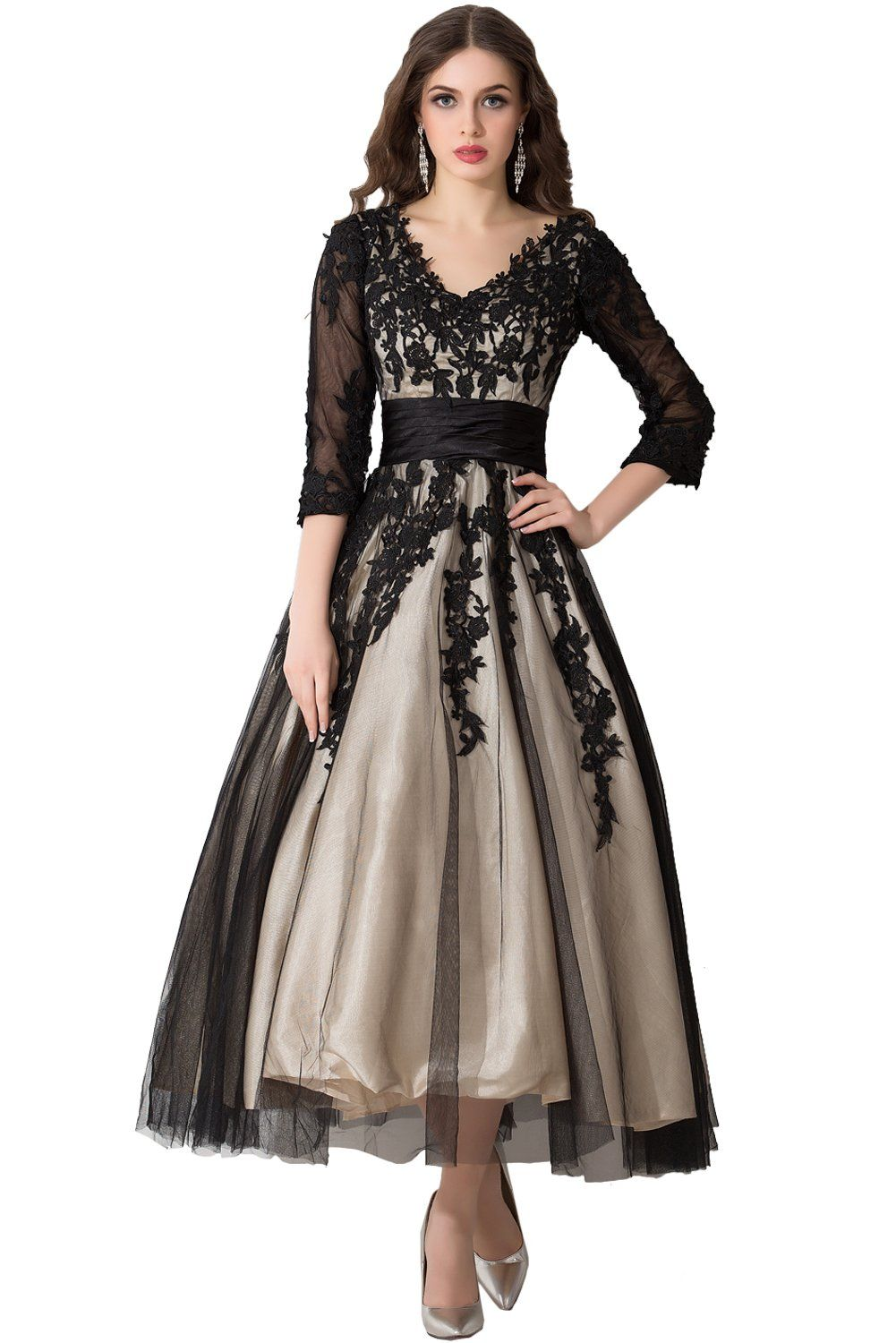 Sunvary champagne and black long sleeves mother of bride dresses