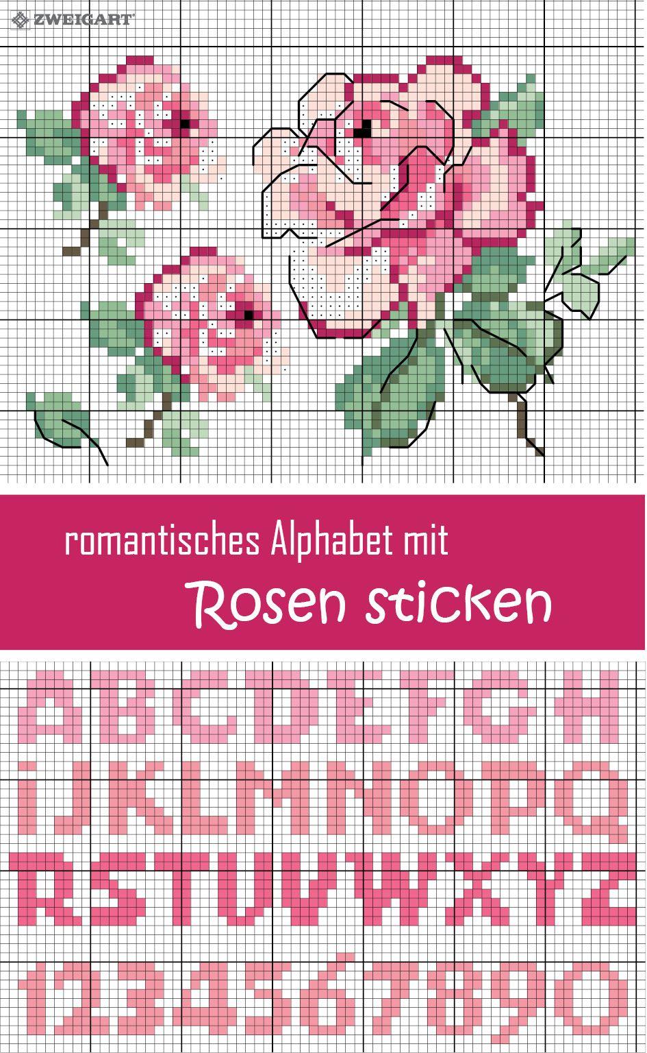 Berühmt Alphabet mit Rosen sticken - Entdecke zahlreiche kostenlose Charts FT95