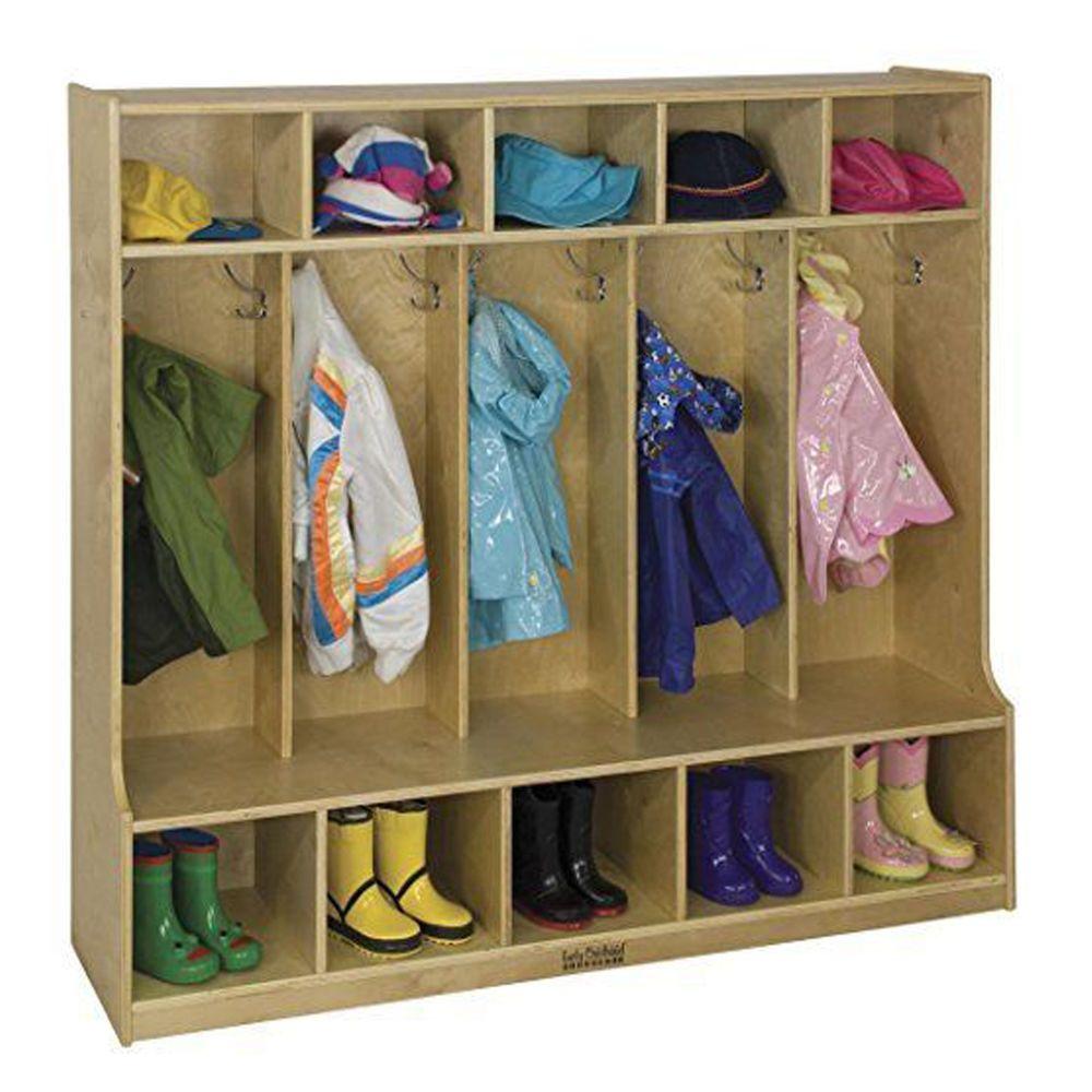 Kidsu0027 Hat Coat Hanger Rack Boots Shoe Storage Locker Built In Bench  Organizer