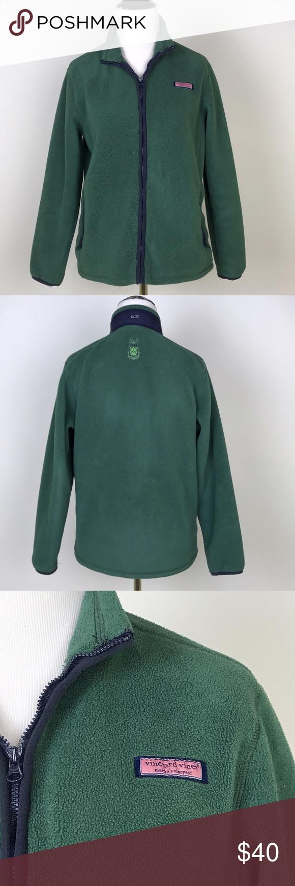 Vv girls full zip fleece jacket green carpe diem preppy green full